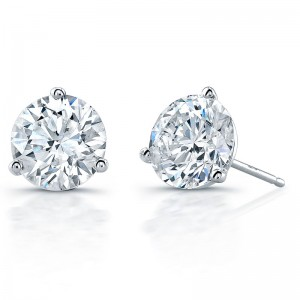 Norman Silverman Round Cut Solitaire Stud Earrings