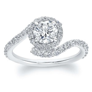 Norman Silverman Round Brilliant Diamond Curved Engagement Ring