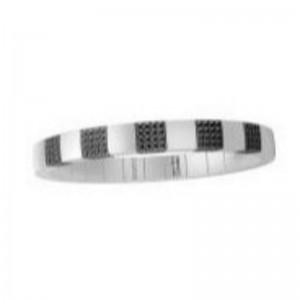 White Ceramic Stretch Bracelet with 5 Black Diamond Stations