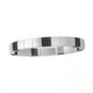 White Ceramic Stretch Bracelet with 7 Champagne Diamond Stations