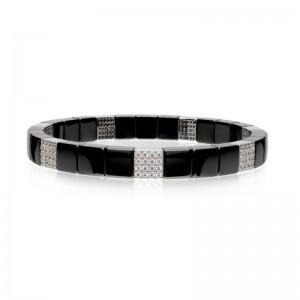 Black Ceramic Stretch Bracelet with 7 Diamond Stations