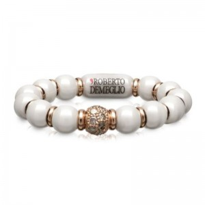 4mm White Ceramic Stretch Ring with 1 Champagne Diamond Bead and Gold Rodells