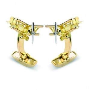 Deakin & Francis Yellow Gold Biplane Cufflinks
