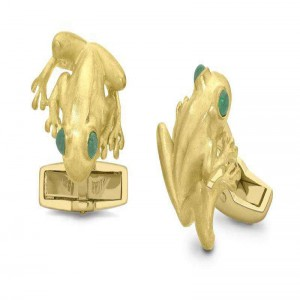 Deakin & Francis Yellow Gold Tree Frog Cufflinks