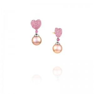 Vincent Peach Heart Shaped Sapphire Pearl Earrings