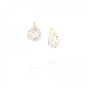 Vincent Peach Freshwater Coin Pearl Camelot Earrings