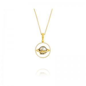 Vincent Peach Gold Armillary Tahitian Pearl Pendant
