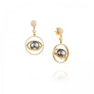 Vincent Peach Armillary Tahitian Earrings