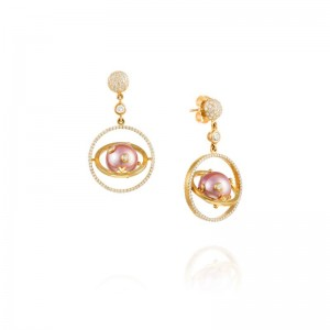 Vincent Peach Armillary Pink Pearl Earrings