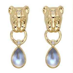 Temple St. Clair Blue Moonstone Lion Drop Earrings