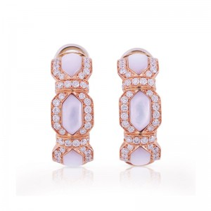 Rose Gold White Mother of Pearl Earrings
