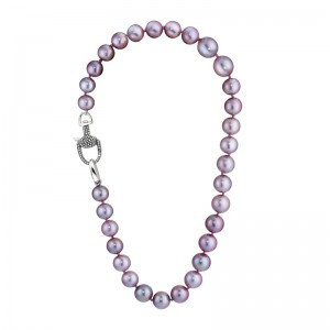 Vincent Peach Edison Pink Pearl Equestrian Necklace