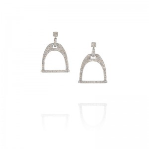 Vincent Peach Equestrian Stirrup Diamond Earrings