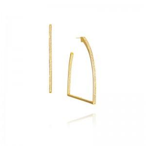 Vincent Peach Gold Stirrup Hoop Earrings