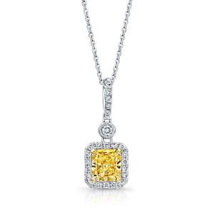 Norman Silverman Fancy Radiant Diamond Drop Pendant