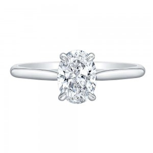 Norman Silverman Oval Diamond Solitaire Engagement Ring