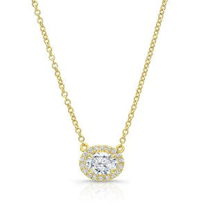 Norman Silverman Oval Drop Diamond Necklace