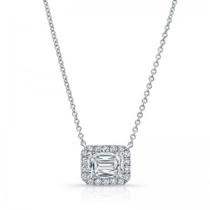 Norman Silverman Emerald Halo Diamond Pendant