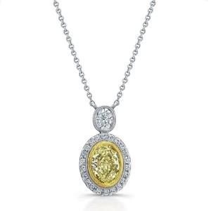 Norman Silverman Oval Fancy Diamond Pendant