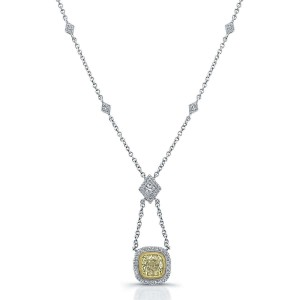 Norman Silverman Drop Fancy Cushion Diamond Pendant