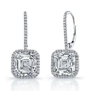 Asscher Diamond Center With A Halo Earring