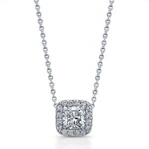Norman Silverman Cushion Diamond Halo Pendant