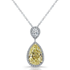 Norman Silverman Fancy Pear Diamond Pendant