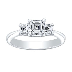 Norman Silverman Thre Stone Asscher Diamond Engagement Ring