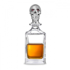 Deakin & Francis Polished Skull Head Crystal Decanter