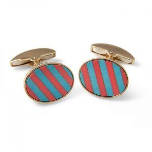 Deakin & Francis Precious Gemstone Striped Cufflinks