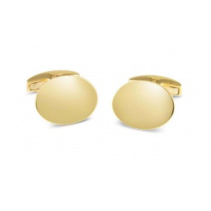 Deakin & Francis Gold Plain Oval Cufflinks