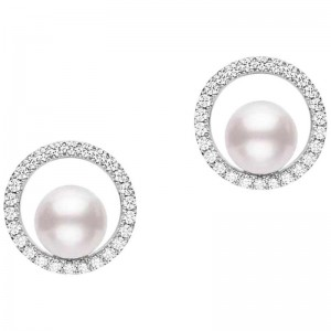 Earrings Akoya A+ 6mm(2) Diamond 0.26ct(52) 18KWG