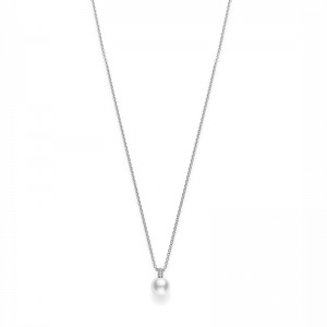 Pendant Akoya A+ 8.5mm(1) White Diamond 0.14ct(40) 18KWG 16