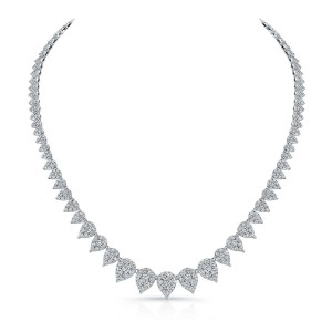 Norman Silverman Pear Cluster Diamond Necklace