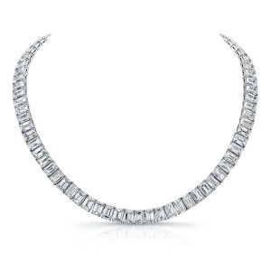 Norman Silverman Emerald Cut Diamond Necklace