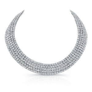 Norman Silverman Five Row Pave Diamond Necklace