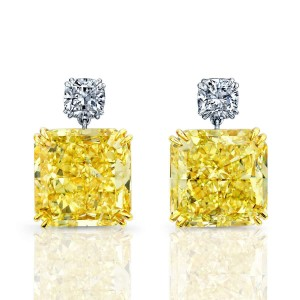 Norman Silverman Cushion Diamond With Yellow Radiant Diamond Dangle Earring