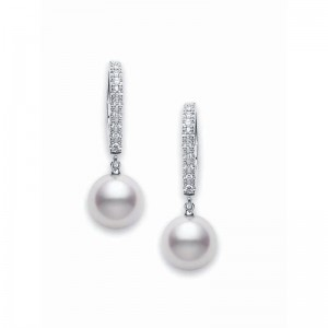 Earring Akoya 7.5mm(2) D-0.08ct(20) K18wg
