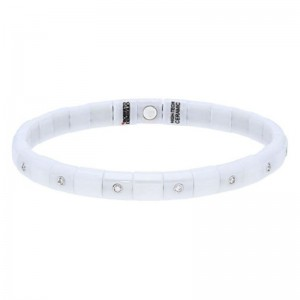White Ceramic Stretch Bracelet with 15 Alternating Diamond Bezels