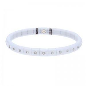 White Ceramic Stretch Bracelet with 30 Diamond Bezels