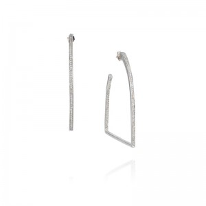 Vincent Peach Sterling Silver Stirrup Diamond Hoop Earrings