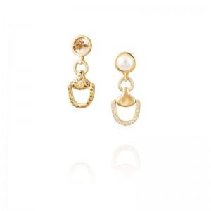 Vincent Peach Gold Churchill Downs Half Diamond Earrings