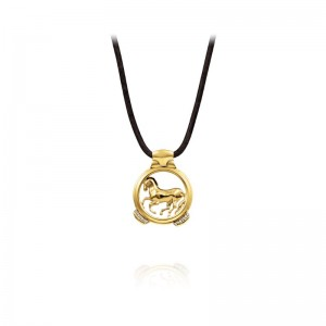 Vincent Peach Gold Finnhorse Necklace