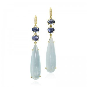 Lauren K Sapphire & Aquamarine Drop Earrings