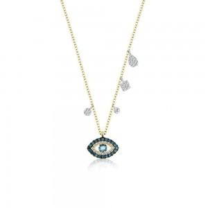 Meira T Blue Diamond Evil Eye Necklace