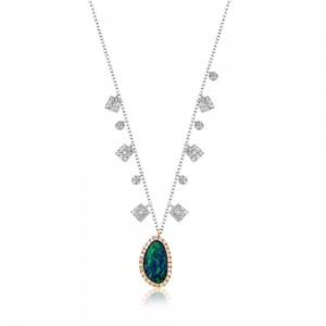 Meira T Two Tone Gold Opal Diamond Necklace