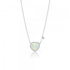 Meira T White Opal Heart Necklace