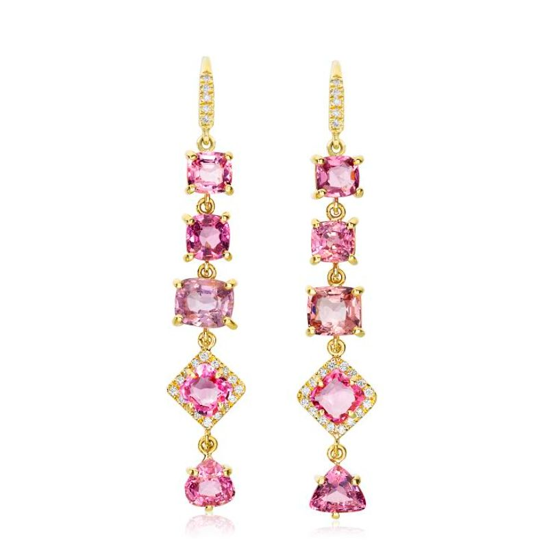 Lauren K Gemma Pink Spinel 5 Stone Earrings