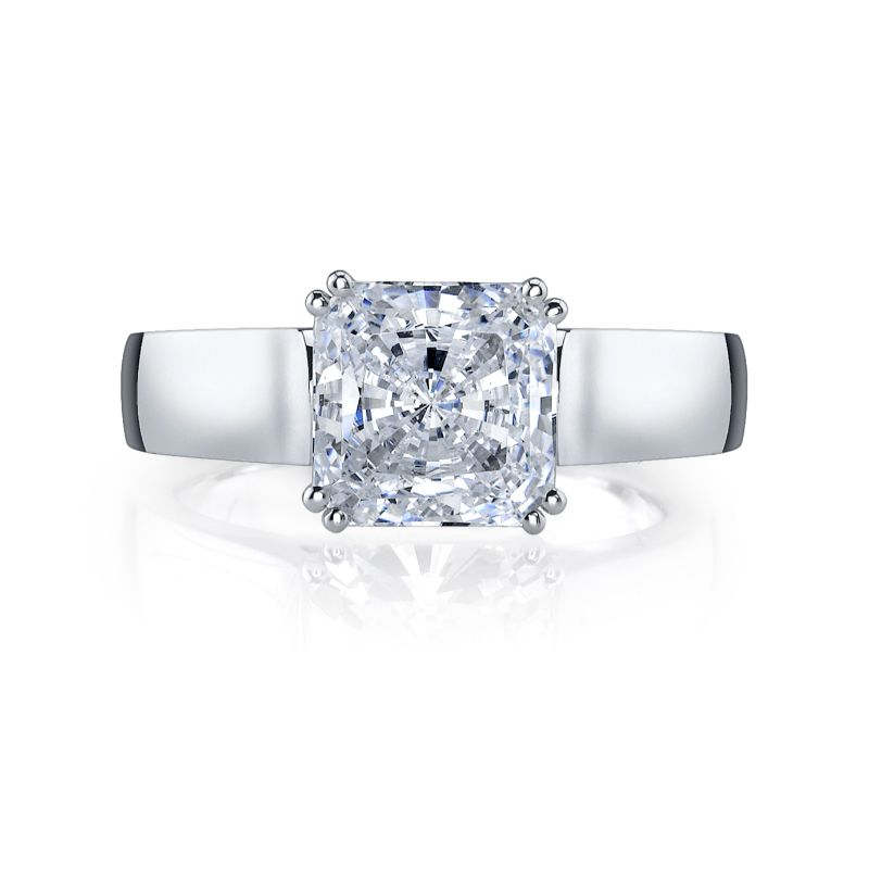 Deutsch Signature Asscher or Radiant Cut Solitaire Semi Mount