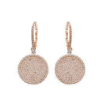 Meira T Pave Diamond Rose Gold Earrings